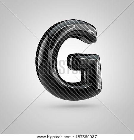 Black Carbon Letter G Uppercase Isolated On White Background
