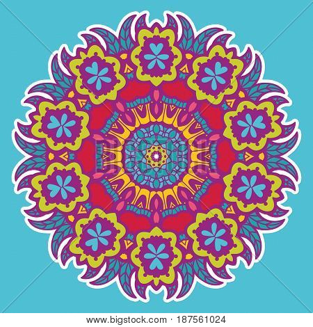 Round colorful mandala design. Creative vector illustration