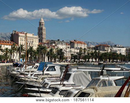 Fishing boats in small port Matejuska in front of Diocletian palace town Split Croatia