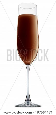 Original Irish Cream Liqueuron alcohol cocktail or chocolate mocktail in champagne glass with brown beverage isolated on white background