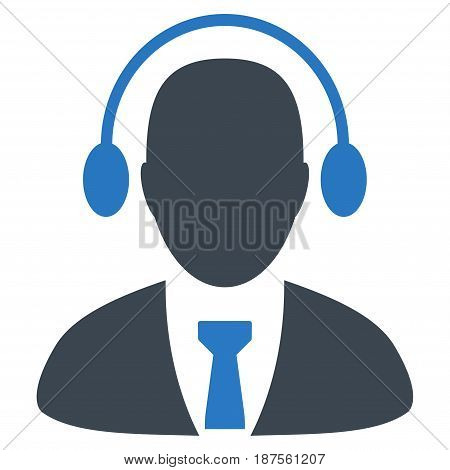 Call Center Operator flat vector illustration. An isolated illustration on a white background.