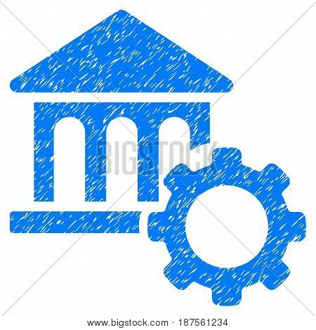 Grunge Bank Options icon with grunge design and unclean texture. Unclean vector blue pictogram for rubber seal stamp imitations and watermarks. Draft sticker symbol.