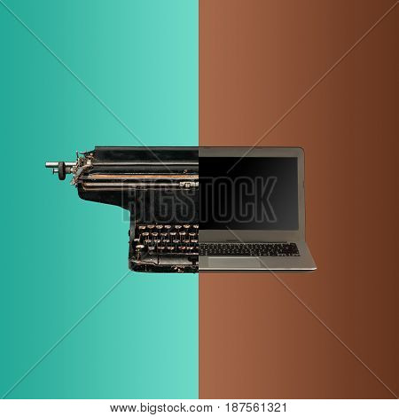 Very old fashion typewriter and new laptop. The concept of old and new technologies