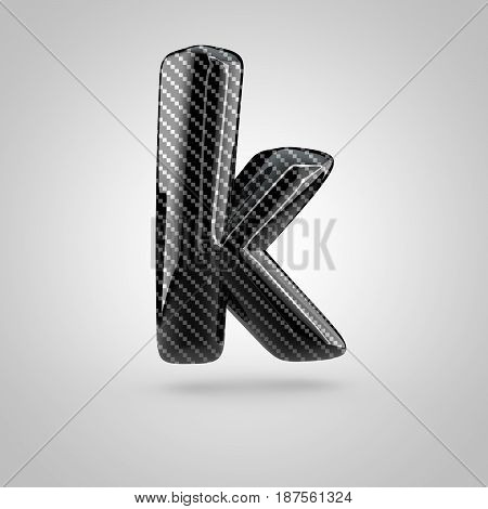 Black Carbon Letter K Lowercase Isolated On White Background