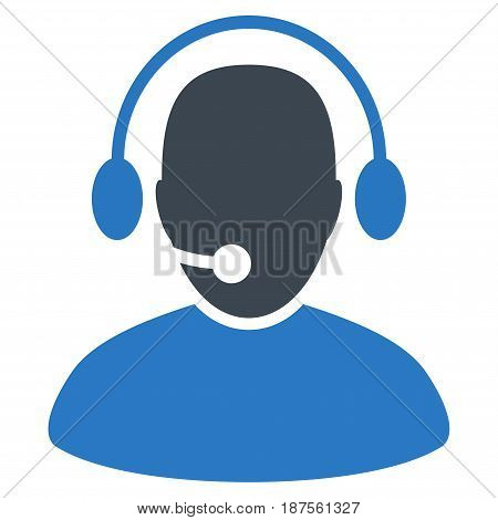 Call Center Worker flat vector illustration. An isolated illustration on a white background.