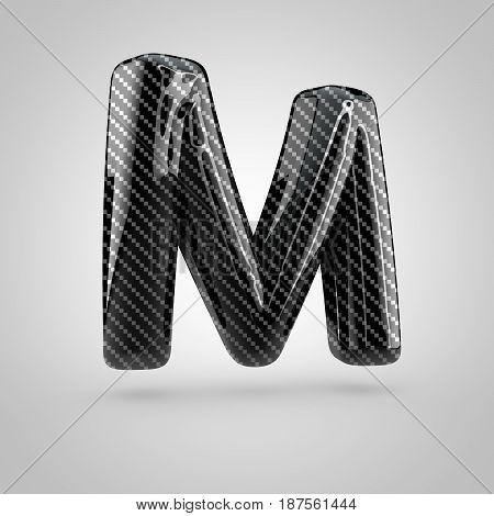 Black Carbon Letter M Uppercase Isolated On White Background
