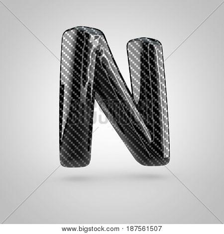 Black Carbon Letter N Uppercase Isolated On White Background