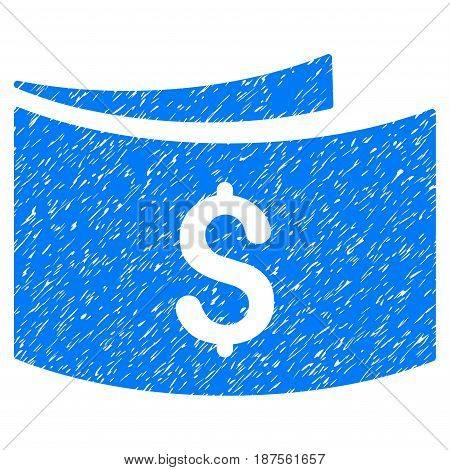 Grunge Banknotes icon with grunge design and dirty texture. Unclean vector blue pictogram for rubber seal stamp imitations and watermarks. Draft sticker symbol.