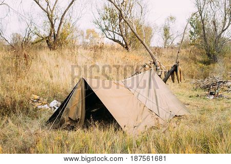 Camp Tent Of Infantry Soldier Of Soviet Russian Red Army During World War II In Forest Camp Re-enactors.