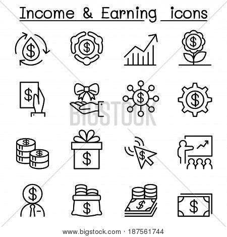 Business investment Income earning icon set Vector illustration Graphic design