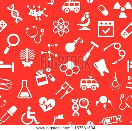 Medicine, red background, flat, seamless, vector.  Medical services specialization. The profession of doctors. Medical instruments. White, flat pictures on a red field. Vector background.
