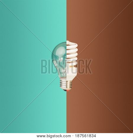Old and new light bulbs together. The concept of old and new technologies