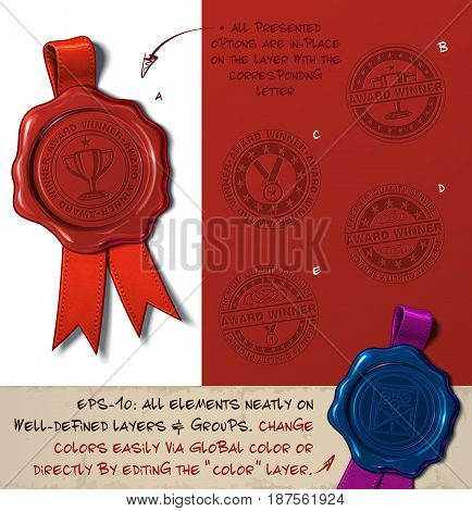 Vector Illustration of a wax seal with a set of stamps regarding Award Winner subjects. All design elements neatly on well-defined layers and groups