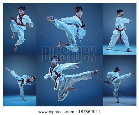 The studio shot of kids training karate martial arts and sitting and posing on blue backlground. Collage