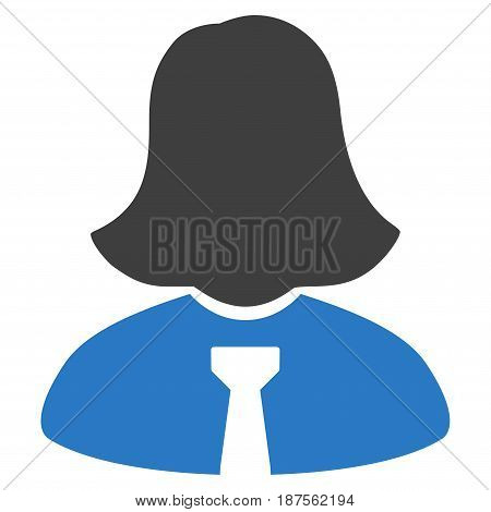Lady flat vector illustration. An isolated illustration on a white background.