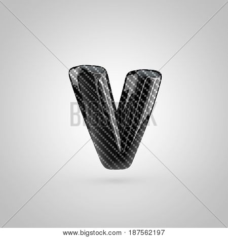 Black Carbon Letter V Lowercase Isolated On White Background