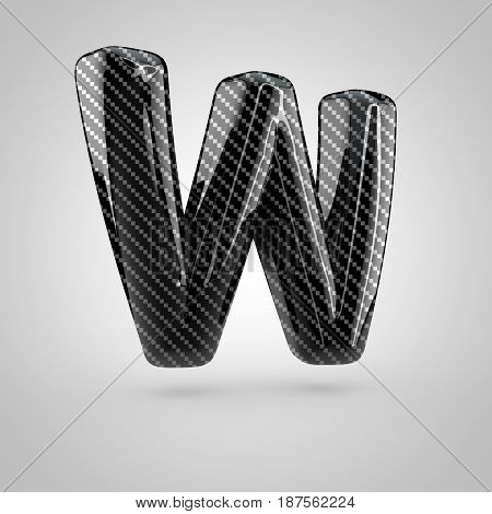 Black Carbon Letter W Uppercase Isolated On White Background
