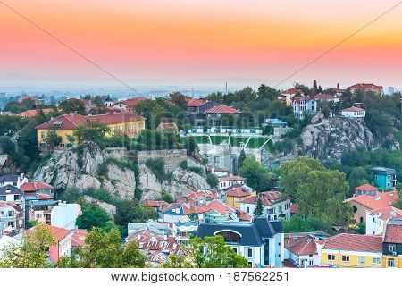 Plovdiv, Bulgaria - September 4, 2016: Plovdiv aerial skyline panorama, Bulgaria with Roman amphitheatre colorful sky