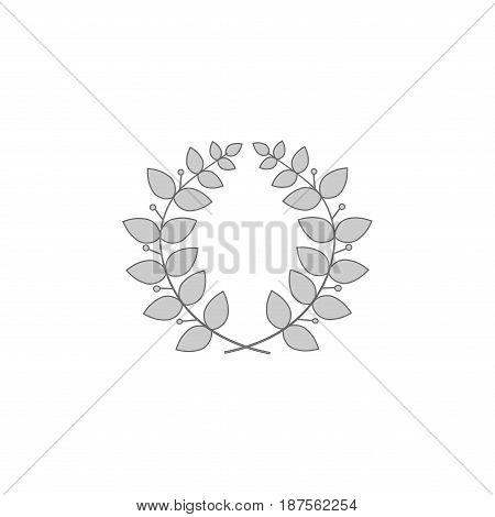 Laurel wreath reward. Modern symbol of victory and award achievement champion. Leaf ceremony awarding of winner tournament. Monochrome template for badge tag. Design element. Vector illustration