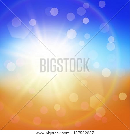 Colorful abstract summer background with sun and particles on blue and orange backdrop