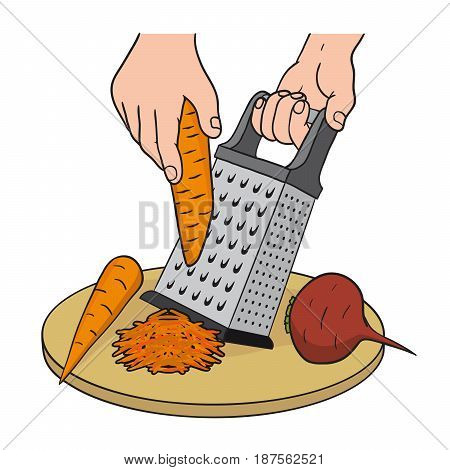 Process of grating vegetables on a kitchen grater. Color vector illustration
