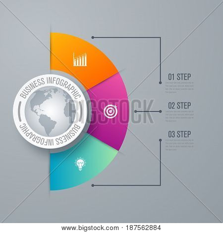 Design infographic template 3 steps, can be used for workflow layout, diagram, number options, graphic or website layout.