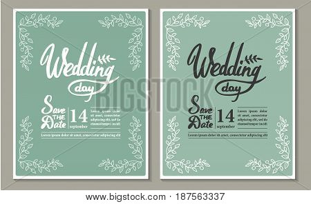 A set of graphic elements for the wedding. Frames of leaf. twigs. Invitation cards
