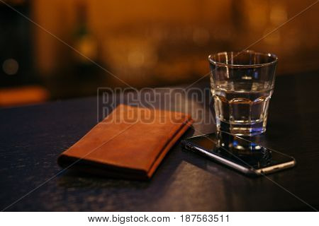 Tip on a counter bar desk . Water