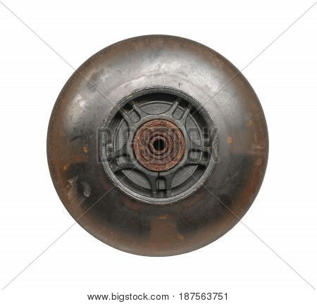 Old cart wheel isolated on white background