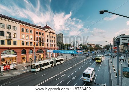 Minsk, Belarus - September 2, 2016: Public Transport In Traffic On Nemiga Street.  Trolley-buses And Urban Taxis Minibuses