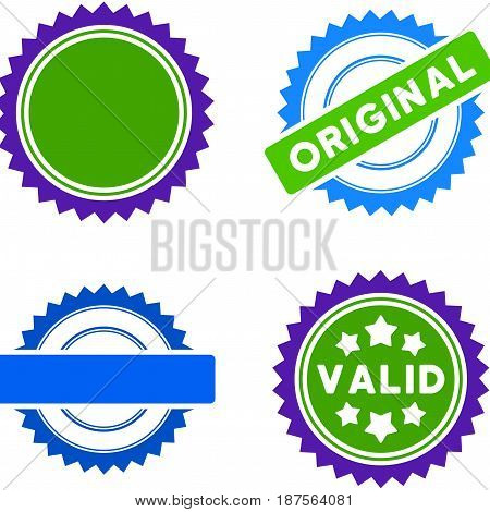 Award Seal flat vector pictograph collection. An isolated icons on a white background.