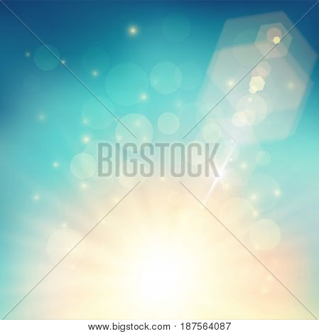 Light summer background. Blue and golden shining with lots of particles