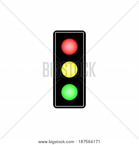 Stoplight sign. Icon traffic light on white background. Symbol regulate movement safety. Electricity semaphore regulate transportation on crossroads urban road. Flat vector image. Vector illustration.