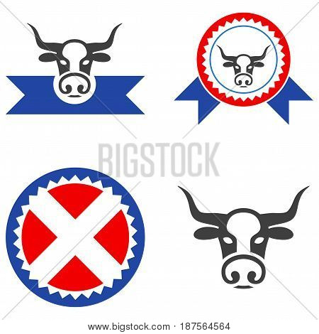 Butchery Award flat vector pictogram set. An isolated icons on a white background.
