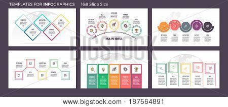 Business infographics. Presentation templates with 5 steps, options. Vector infographic slides, flowcharts, diagrams.