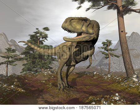 Abelisaurus dinosaur walking in the mountain among pine trees by cloudy day - 3D render