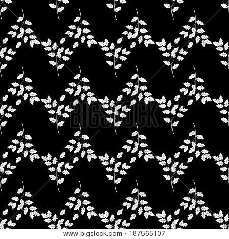 White twig wavy on black background. Fashion graphic background design. Modern stylish abstract texture. Monochrome template for prints textiles wrapping wallpaper website. Vector illustration