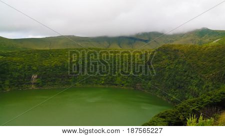 Aerial view to lake Negra Flores island Azores. Portugal