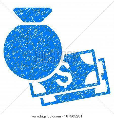 Grunge Money Bag icon with grunge design and dirty texture. Unclean vector blue pictogram for rubber seal stamp imitations and watermarks. Draft sign symbol.