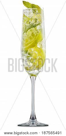 fresh fruit alcohol cocktail or mocktail in champagne glass with ice cubes, lime and mint isolated on white background