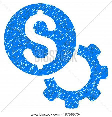 Grunge Payment Tools icon with grunge design and unclean texture. Unclean vector blue pictogram for rubber seal stamp imitations and watermarks. Draft emblem symbol.