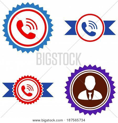 Call Center Seal Stamp flat vector pictograph collection. An isolated icons on a white background.