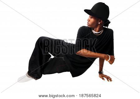 Cool young hip-hop male isolated on white background