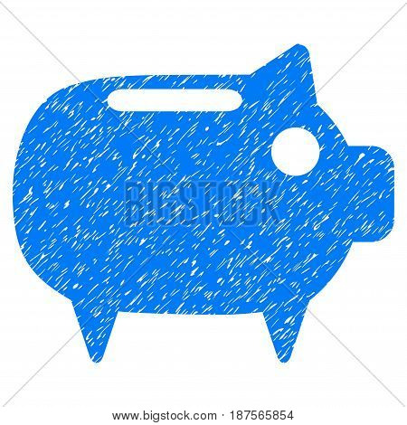 Grunge Piggy Bank icon with grunge design and scratched texture. Unclean vector blue pictogram for rubber seal stamp imitations and watermarks. Draft sign symbol.