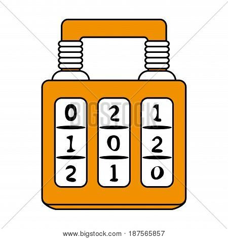 color graphic of combination padlock with square body vector illustration