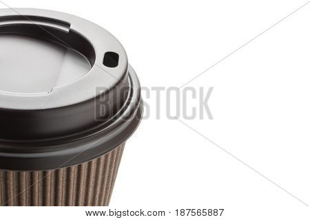 Close-up paper cup of coffee isolated on white background with copyspace