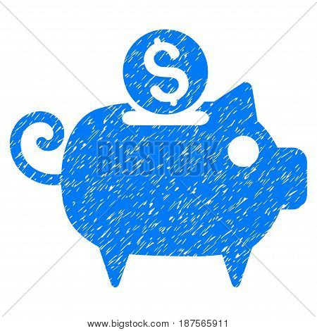 Grunge Piggy Bank icon with grunge design and unclean texture. Unclean vector blue pictogram for rubber seal stamp imitations and watermarks. Draft sticker symbol.