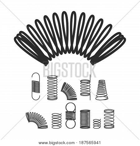 Spiral Flexible Wire Elastic Spring. Vector Isolated Icon Set