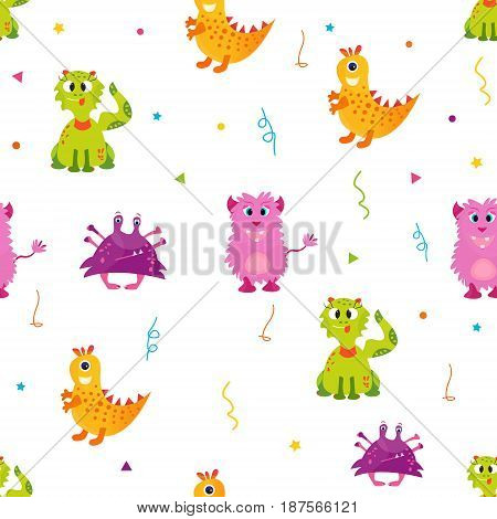 Bright pattern with cute monsters. Can be used for textile, paper wrapping, cover, envelope