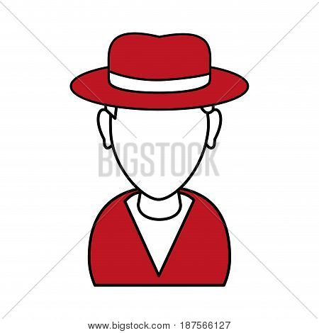 silhouette in red and white of cartoon half body man with hat and faceless vector illustration